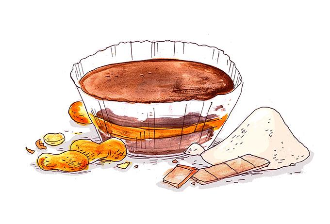 4-Zutaten Schokoladen-Erdnussbutter-Taler von Knabberkult.de // Zeichnung von Jolott – johanneslott.com