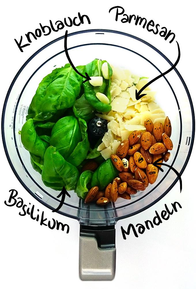Einfaches Basilikum Pesto mit gerösteten Mandeln // Knabberkult.de